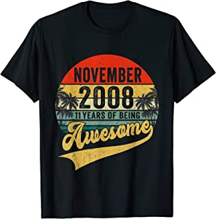 Vintage Retro November 2008 11th Birthday Gifts 11 Years Old T-Shirt