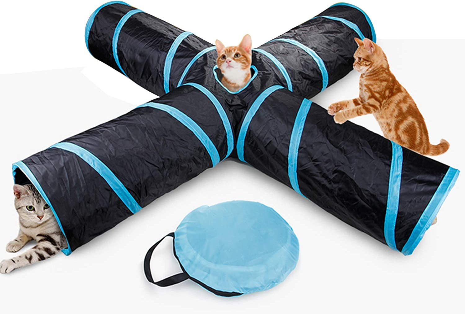 Foldable Cat Tannel Portable 4 Way Play Toy Dog Tube for Kitten Fat Cat with Hanging Ball Convenient for Storage, Black bluee