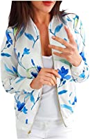 Womens Zip Up Stand Collar Jacket,Fall Trendy Floral Print Casual Pocket Outerwear,Long Sleeve Lightweight Jacket Coat