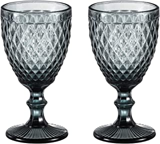 Wine glass, Colored Glass Goblet, 6oz/10oz Vintage Pattern Embossed High Clear Glass Goblets for Party, Wedding (Diamond /...