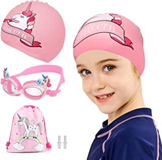 TCJJ Swim Cap with Swimming Goggles and Storage Bag for...