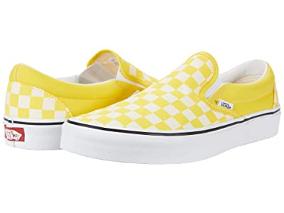Vans Classic Slip-On ((Checkerboard) Cyber Yellow/True White) Skate Shoes