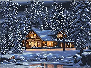Diy Oil Painting Paint by Number Kit for Adults Beginner 16x20 inch - Snow Cottage View, Drawing with Brushes Christmas Decor Decorations Gifts (Without Frame)