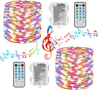 Battery Christmas Lights 2 Packs 33ft 100 LED Sound Activated Fairy Lights, with Remote, Timer, Waterproof Battery String Lights for Xmas Tree, Home, Party, Holiday, Christmas Decorations (Multicolor)