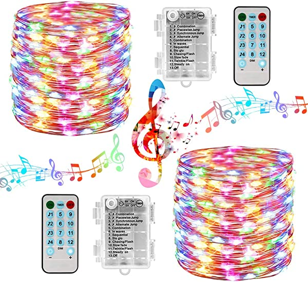 100 LED Fairy Lights 33ft Sound Activated Battery Operated String Lights 2 Pack Waterproof Fairy String Lights With Remote Timer For Bedroom Wedding Festival Indoor Outdoor Decor Multicolor