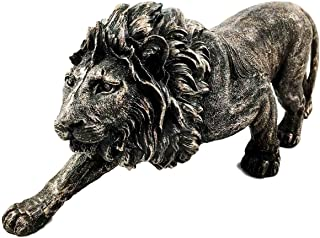 Gifts & Decor The King of The Jungle Bronzed Aslan Lion Figurine Battle Attacking Stance Statue