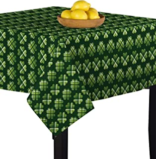 Fabric Textile Products Square Tablecloth, 100% Milliken Polyester, Machine Washable, 54x54, Plaid, 4 Leaf Clover