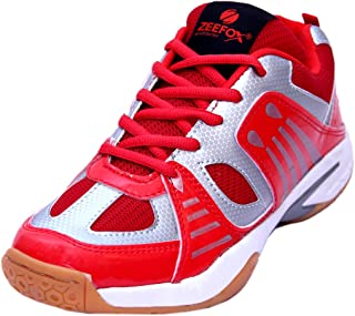 ZEEFOX Sparx Men's PU Badminton Shoes Red