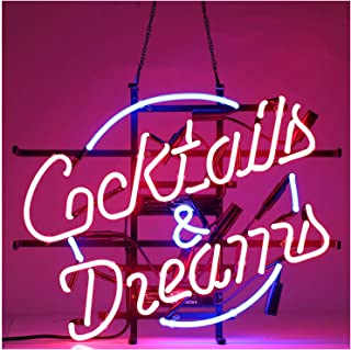 24x20inches Cocktails and Dreams Neon Light Sign Home Beer Bar Pub Recreation Room Game Lights Windows Glass Wall Signs Party Birthday Bedroom Bedside Table Decoration Gifts (Not LED)