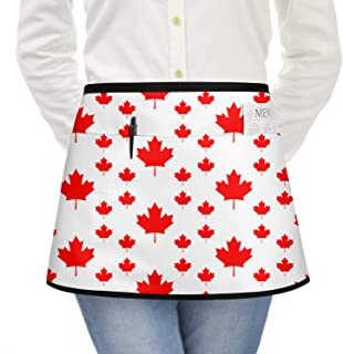 zyiirtpjfd Red Canada Big and Small Maple Leaf Schedule 2018 Funny Half Waitress Aprons for Men with Pockets