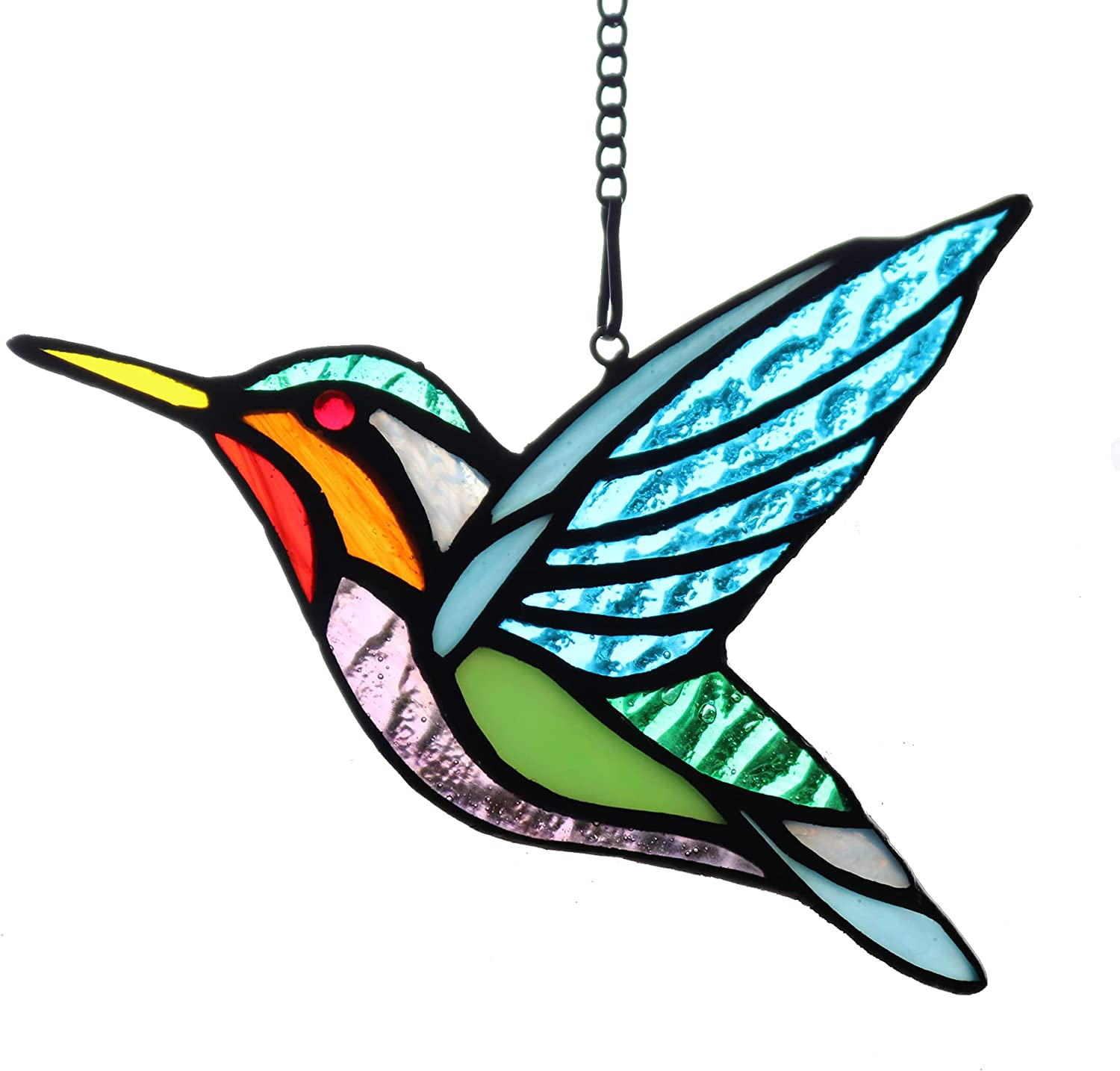 HAOSUM Stained Glass Birds Window Hangings, Stained Glass Bird Decorations,Glass for Window,Home Decor Gifts for Mom,Bird Lovers