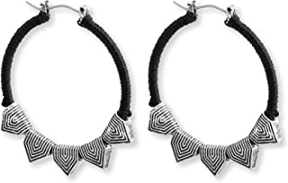 Steve Madden Black Silver Toned Textured Triangle Tribal Hoop Earrings for Women