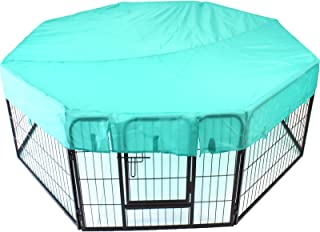 Heavy Duty Pet Dog PlayPen + Waterproof Cover   Puppy Exercise Play Pen Fence Enclosure Gate 8 Panels Heavy-Duty Crate Cage (Small 60cm + Octagon Cover)