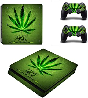 PS4 Slim Skins Console and Controller by ZOOMHITSKINS, Same Decal Quality for Cars, Cool Leave Green Herb 420 Custom Weed ...