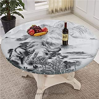 Covers For The Home Deluxe Pull rope Edged Fitted with a Drawstring Polyester Individual Table Cloth,Asian Decor,Chinese Mountain View with Trees on the Roughness Majestic Nature Features Sketchy Illu