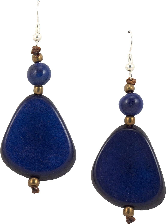Organic Tagua Alma Earrings Royal Blue