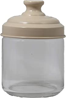 Italo Ottinetti Glass Jar with Painted Aluminium Lid Beige 0.75 Litre, one Size