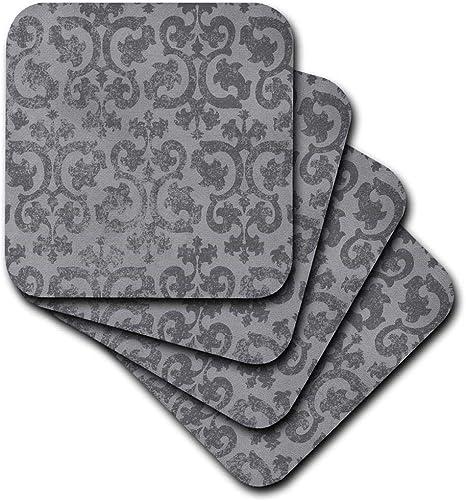 3drose Cst 151434 3 Grunge Gray Damask Silver Grey Faded Antique Vintage Swirls Wallpaper Fancy Swirling Pattern Ceramic Tile Coasters Set Of 4 Home Kitchen