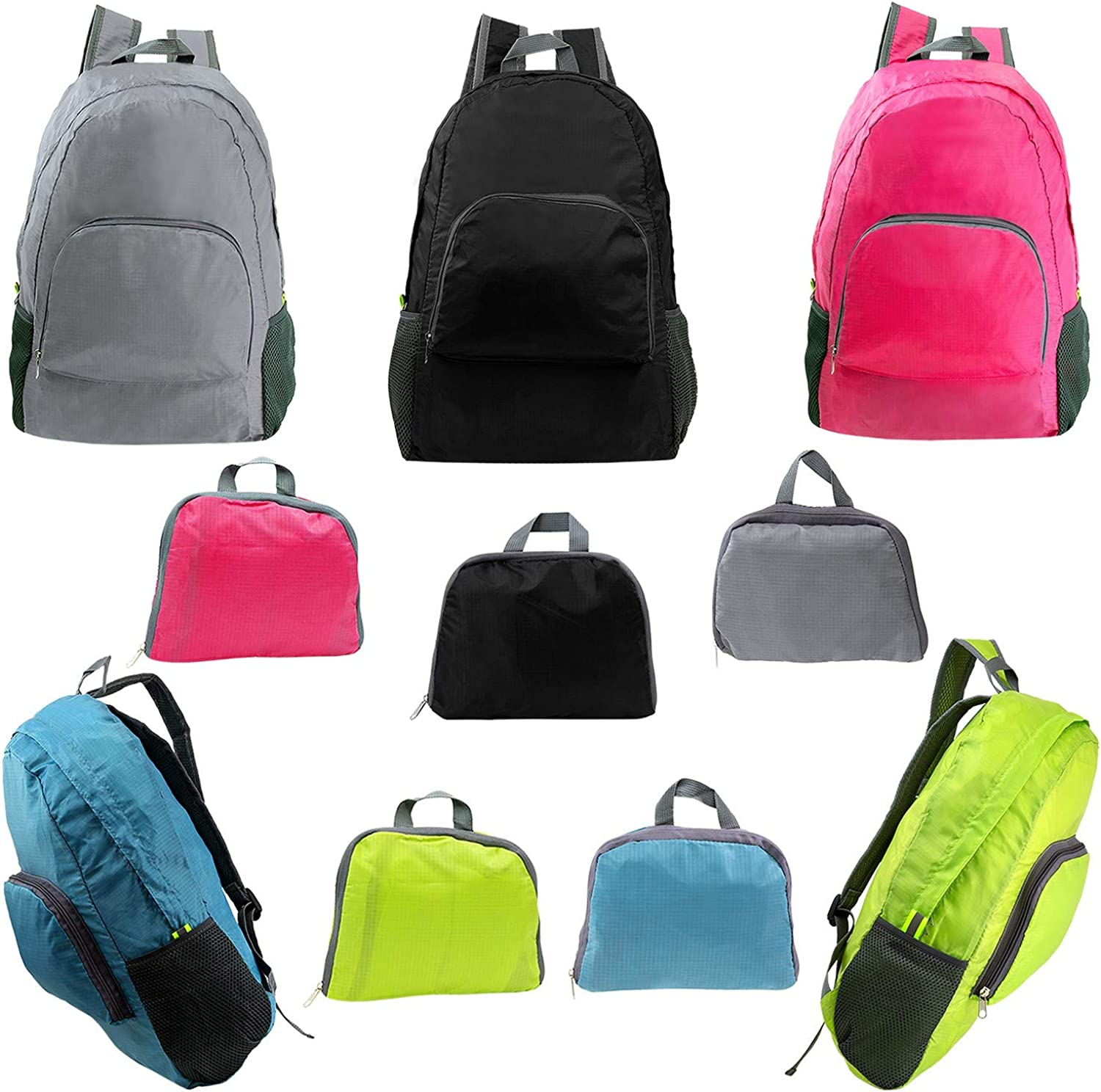 61a06d65598 17 Wholesale Ultra Lightweight Foldable Backpack in 5 Assorted colors Bulk  Case of 24 Bookbags