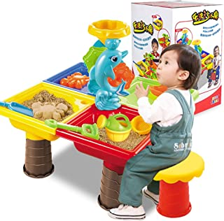 MeterMall 1 Set Children Beach Table Sand Play Toys Set Baby Water Sand Dredging Tools Color Random Beach Tableã  9829-color Boxã