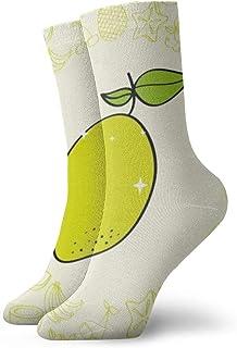 Lemon Fruits Nutrition Background Pattern Drawing Men's Cotton Half Cushioned Crew Socks