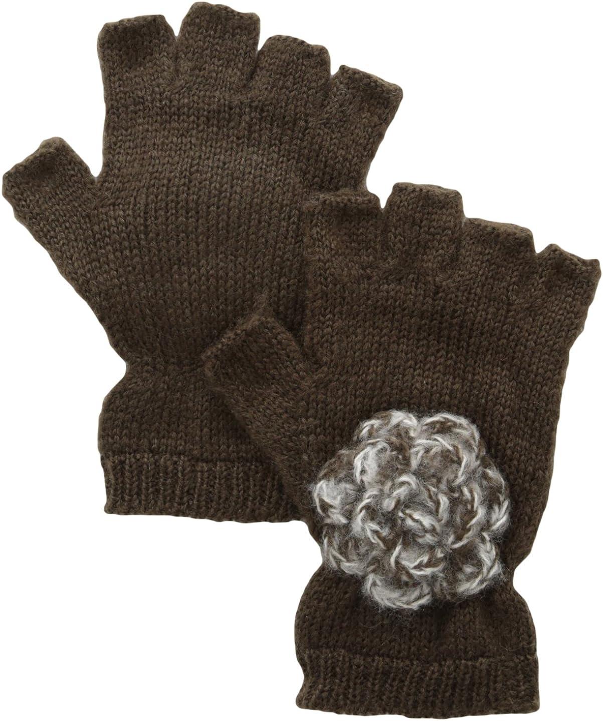 San Diego Hat Company Women's Knit Fingerless Glove with Crochet Flower