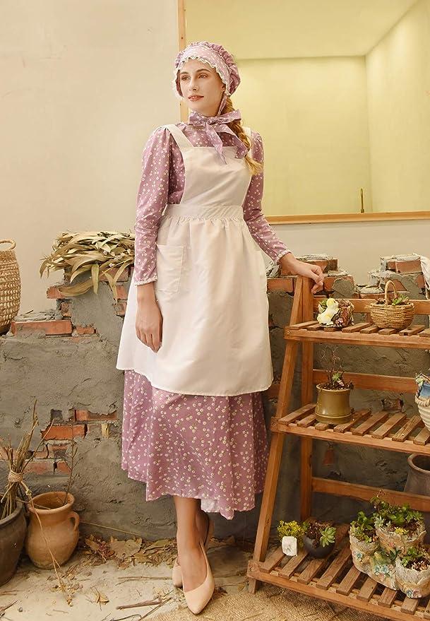1900s Edwardian Dresses, 1910s Dresses ROLECOS Pioneer Women Costume Floral Prairie Dress Deluxe Colonial Dress Laura Ingalls Costume $35.99 AT vintagedancer.com