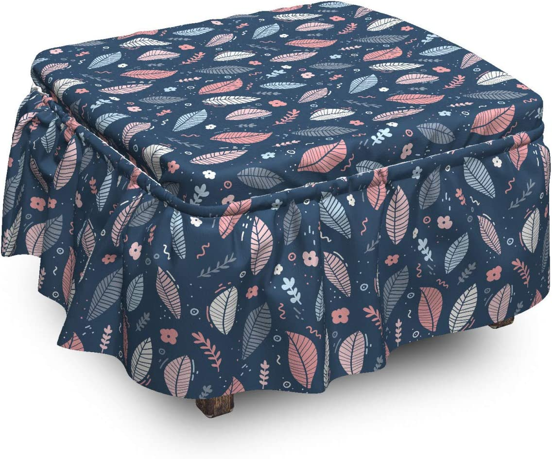 Lunarable Super sale period limited Botanical Ottoman Surprise price Cover Modern Pie Autumnal 2 Leaves