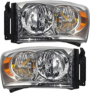 Headlights Headlamps Driver and Passenger Replacements for 07-08 Dodge Pickup Truck 68003125AD 68003124AD