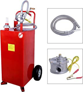 SUNCOO 30 Gallon Portable Gas Caddy Fuel Storage Tank on Wheels Gasoline Fluid Diesel with Pump &Hard Tube Red