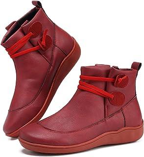أحذية SOVIKER 2019 جديدة لدعم أخمص القدم للنساء جزمة كاحل بسحاب جانبي أحذية جلدية مريحة كعب مسطح
