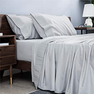 Bedsure Bed Sheet Set - Ruffled Embossed Light Gray Bed Sheets - Soft Brushed Microfiber, Wrinkle Resistant Bedding Set - 1 Fitted Sheet, 1 Flat Sheet, 2 Pillowcases (Queen, Light Grey)
