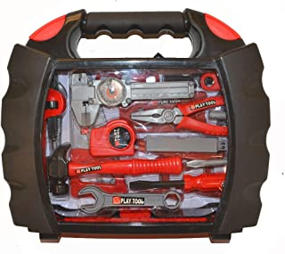 Bo-Toys Kids 28 Pcs Tool Set Pretend Play Toy Set in Handy Carry Along Tool Box, Red/Black