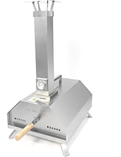 فرن بيتزا من خشب الناري للاستخدام في الهواء الطلق من بي كيو ستار، مصنوع من الفولاذ المقاوم للصدأ مع حجر بيتزا 27.94 سم