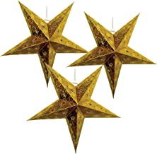 Just Artifacts - Star Shaped Paper LanternLamp Hanging Decoration - (Set of 3, 18inch, Gold)