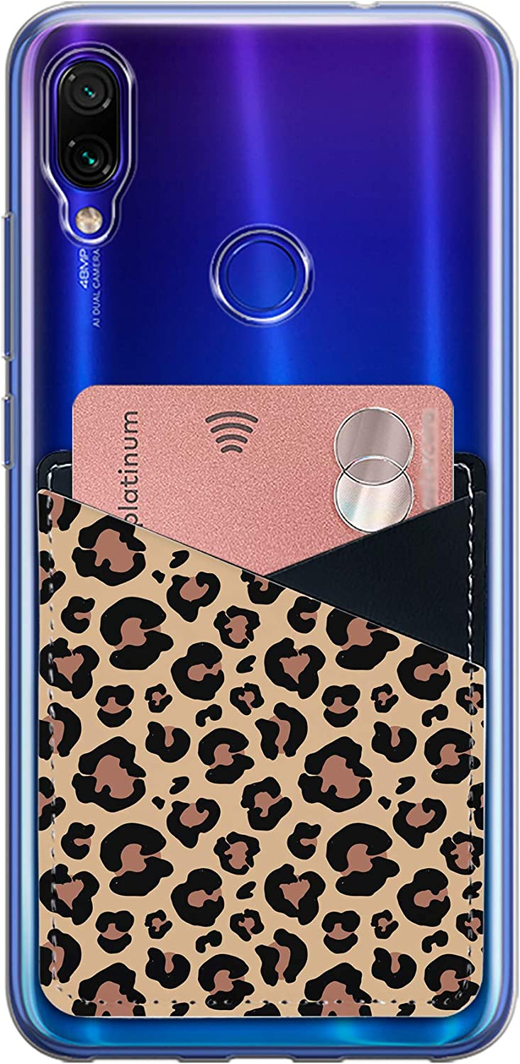 Card Holder for Back of Phone Stick on ID Cards Wallet PU Leather Sleeve Adhesive 3M Sticker Pouch for Samsung Galaxy iPhone and More Smartphones (Leopard Skin)