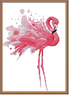 Cross Stitch Stamped Kits Pre-Printed Cross-Stitching Starter Patterns for Beginner Kids or Adults,Needlepoint Embroidery Kits Flamingos for Home Decor