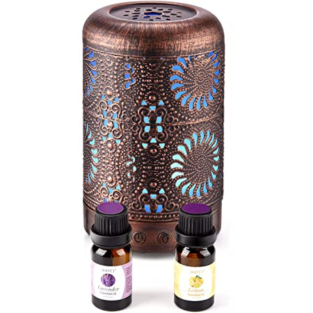 Essential Oil Diffuser with Oils, Ultrasonic Aromatherapy Oil Diffuser Humidifier with Lavender&Lemon Oils, Mini Vintage Metal Cool Mist Diffusers for Essential Oils, Teacher Gifts