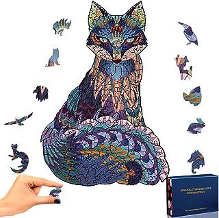 TOLOYE Houten legpuzzel vos 3D puzzel unieke dierenvorm puzzelstukjes dier houten puzzel voor volwassenen en kinderen fami...