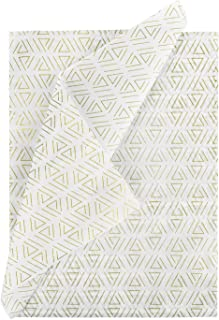 RUSPEPA White Tissue Paper Gold Triangle Print Gift Wrapping Tissue Paper for Party Decor Gift Wrap DIY Crafts - 19.5 x 27.5 inch - 25 Sheet