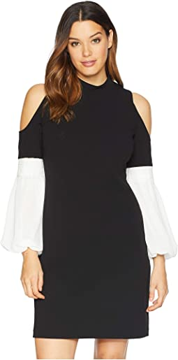 Chiffon Bubble Sleeve Cold Shoulder Crepe Ponte Dress