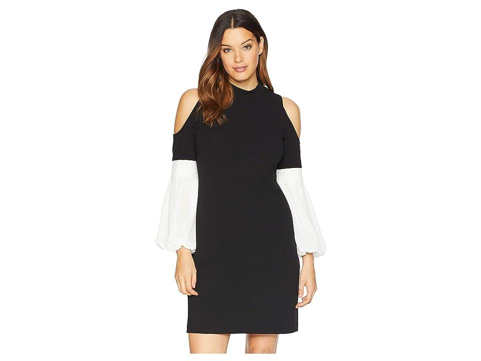 Vince Camuto Chiffon Bubble Sleeve Cold Shoulder Crepe Ponte Dress (Rich Black) Women