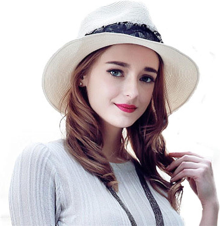 53763de991ab2c Miki Da White Sun Hat for Women Ladies with Lace Fedora Beach Predect  Panama Hats Wide Brim Straw Jazz Cap Sombreros Paja Summer Uv  nymglw814-Sporting goods