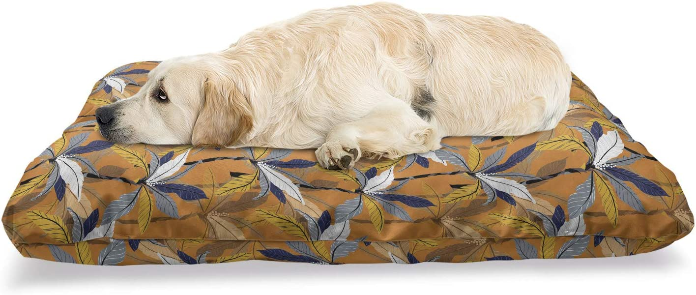 Ambesonne Tropical Pet Bed Palm Leaves Amber an on Backdro Tone All items in the store San Diego Mall