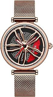 ساعات نسائية ساعة يد ساعة في السيارة ذات تصميم مجسم، ساعة معصم بحركة كوارتز تناظرية للسيارة للسيدات (يمكن تدوير العجلات 36...