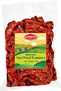 SUNBEST Sun-Dried Tomatoes Bulk Deal, Ready to Eat , NON GMO - Vegan & Kosher (Julienne Cut, 5 Lb)