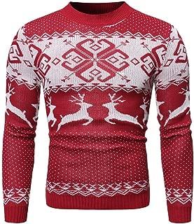 Beautyfine 2019 Christmas Sweater Men's Autumn Winter Warm Pullover Print Knitted Blouse Tops