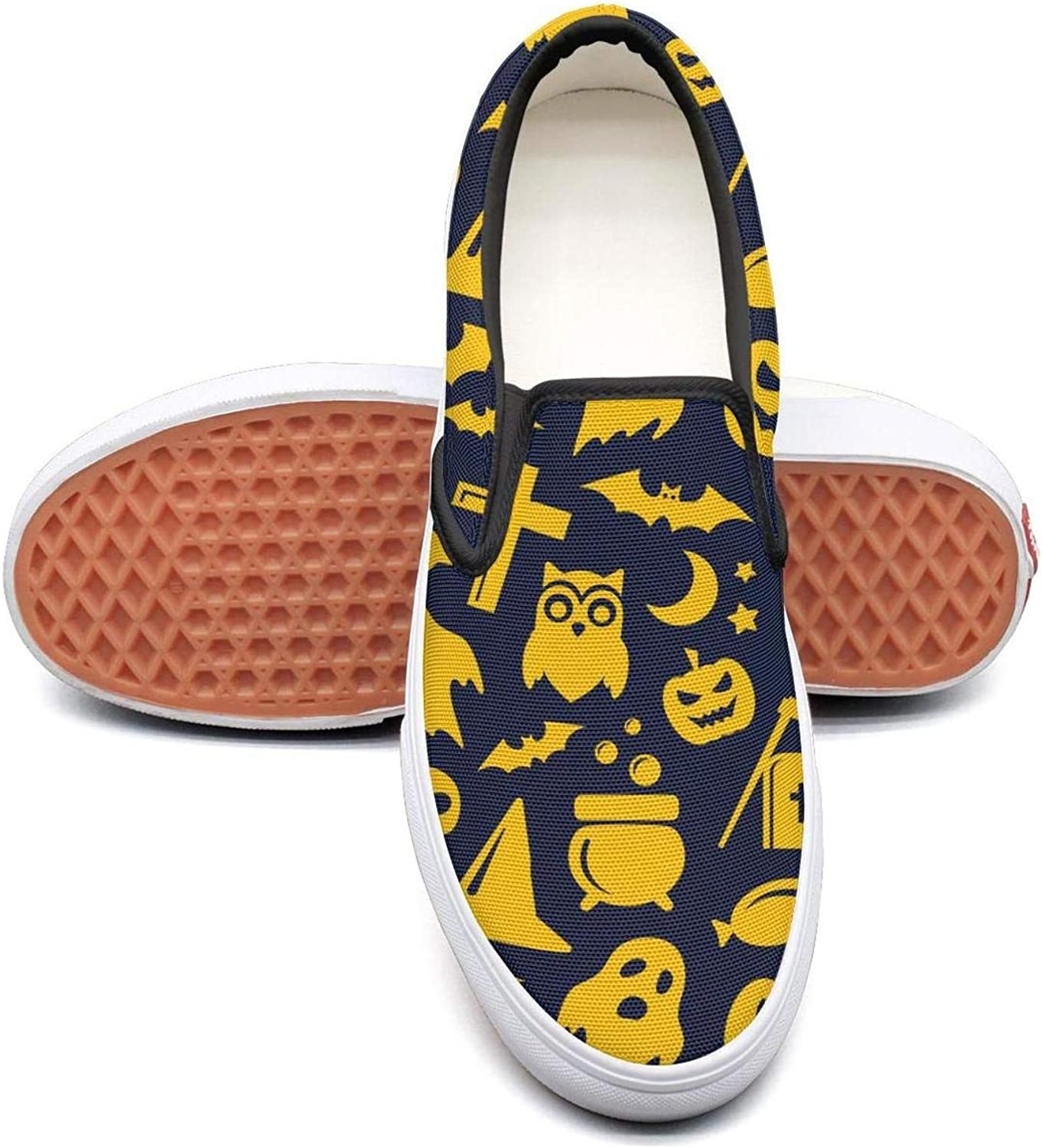 bluee Yellow Halloween Skull A Slip On Rubber Sole Loafers Canvas shoes for Women Comfortable