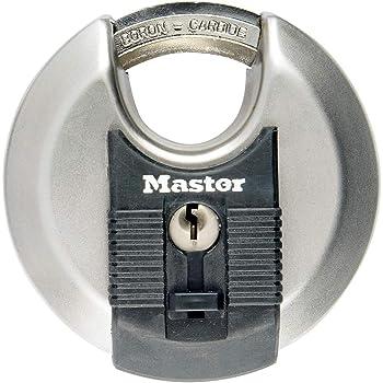 MASTER LOCK Cadenas Rond [A Clé] [Acier Inoxydable] [Extérieur] M40EURD - Idéal pour les espaces de rangement, les remises, les garages, les remorques