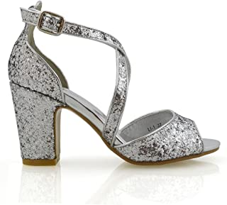 Womens Strappy Sandals Block Low Mid Heel Sparkly Glitter Ladies Bridal Party Dressy Shoes